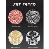 Dekorauflage - Retro - Flowers black Ø 38 cm bunt rund