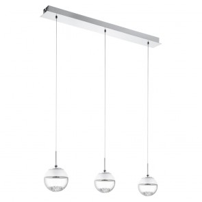 Montefio, LED, Kristall, 3-flammig, chrom