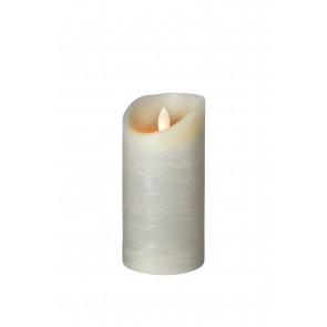 SHINE LED Kerze 7,5x15 grau Echtwachs mit Timer, Fernbedienung exkl.