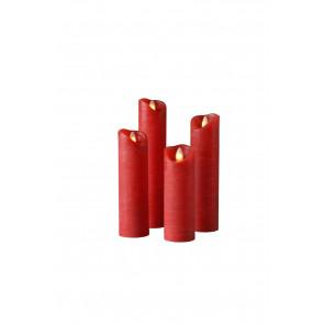 SHINE LED 4er Set rot schmal Echtwachs mit Timer und Fernbedienung