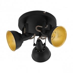 Thornton schwarz gold 3-flammig Rondell