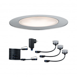 Plug & Shine Basisset, LED, IP65, dimmbar, silber