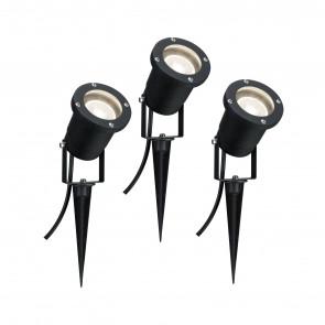 LED Pflanzenleuchte 3er-Set Ø 9,2 cm schwarz 1-flammig rund